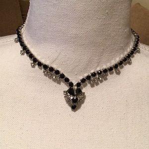 Jewelry - Vintage black & crystal choker necklace